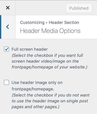 Header Media Options