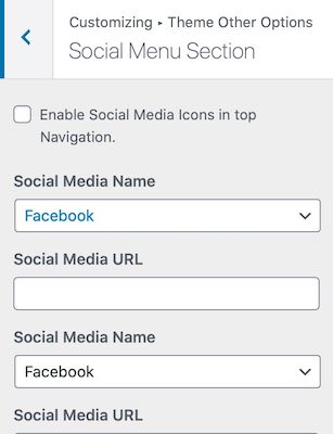 Social Menu Section
