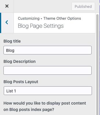Blog-page-settings