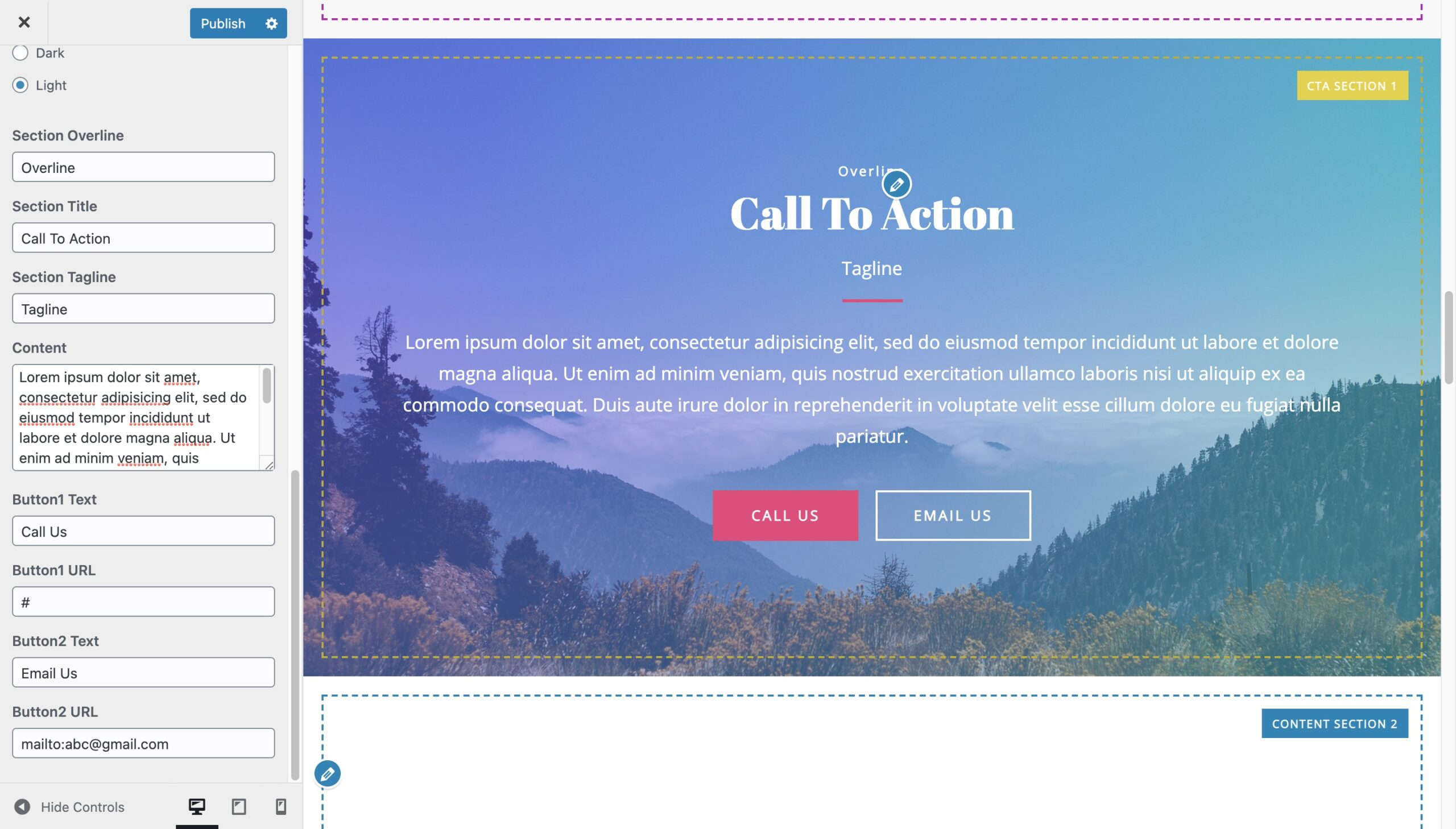 Call To Action-Image with Gradient Background